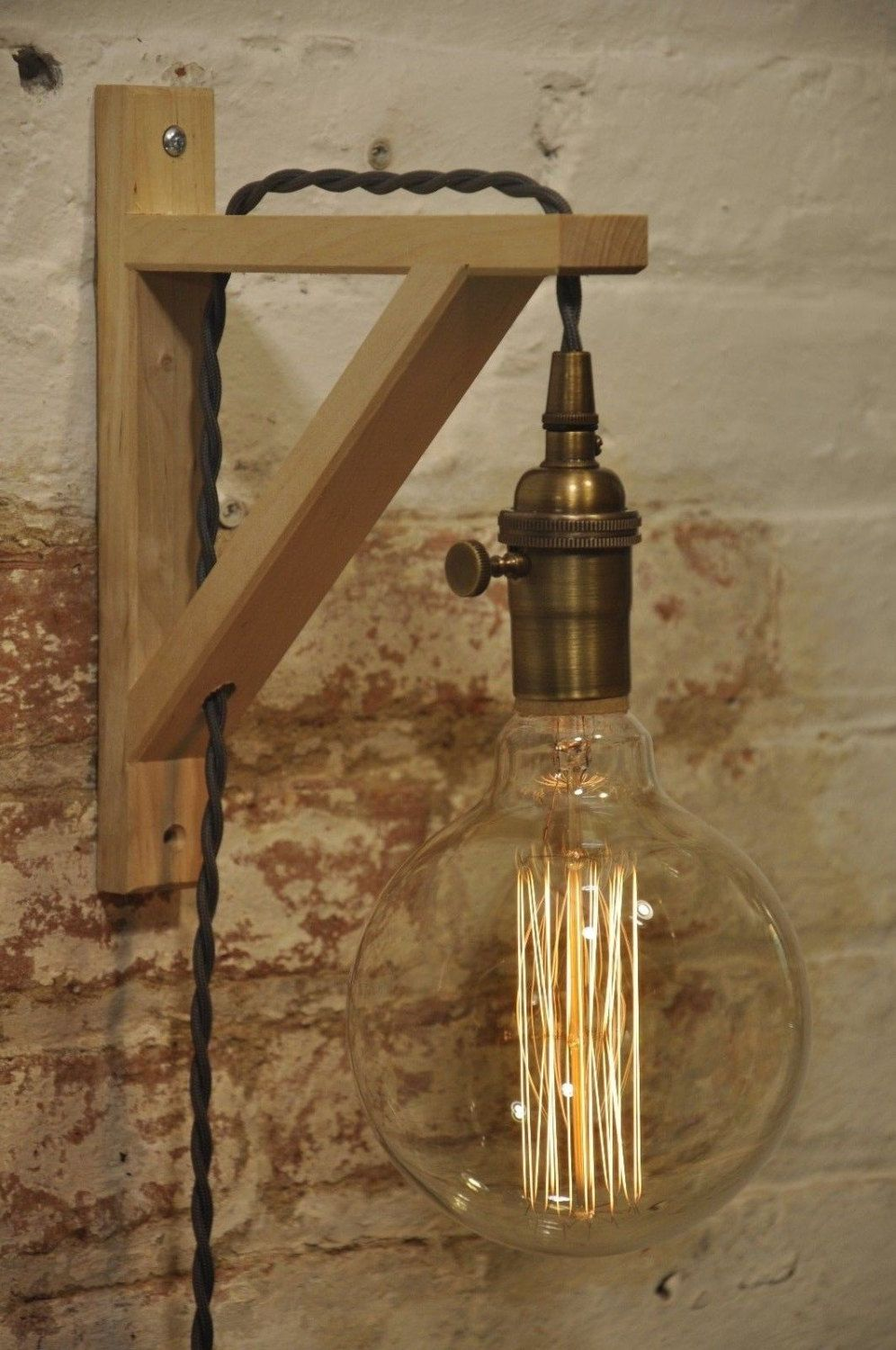 And cabinet pulls with antique brass sconces and a chrome faucet - Wall Sconce Antique Brass Birch Wood Light Lamp Industrial Retro Vintage Solid