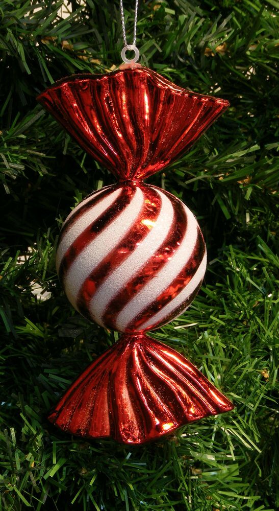 SHATTERPROOF GLITTERED RED STRIPED CANDY CHRISTMAS TREE ...