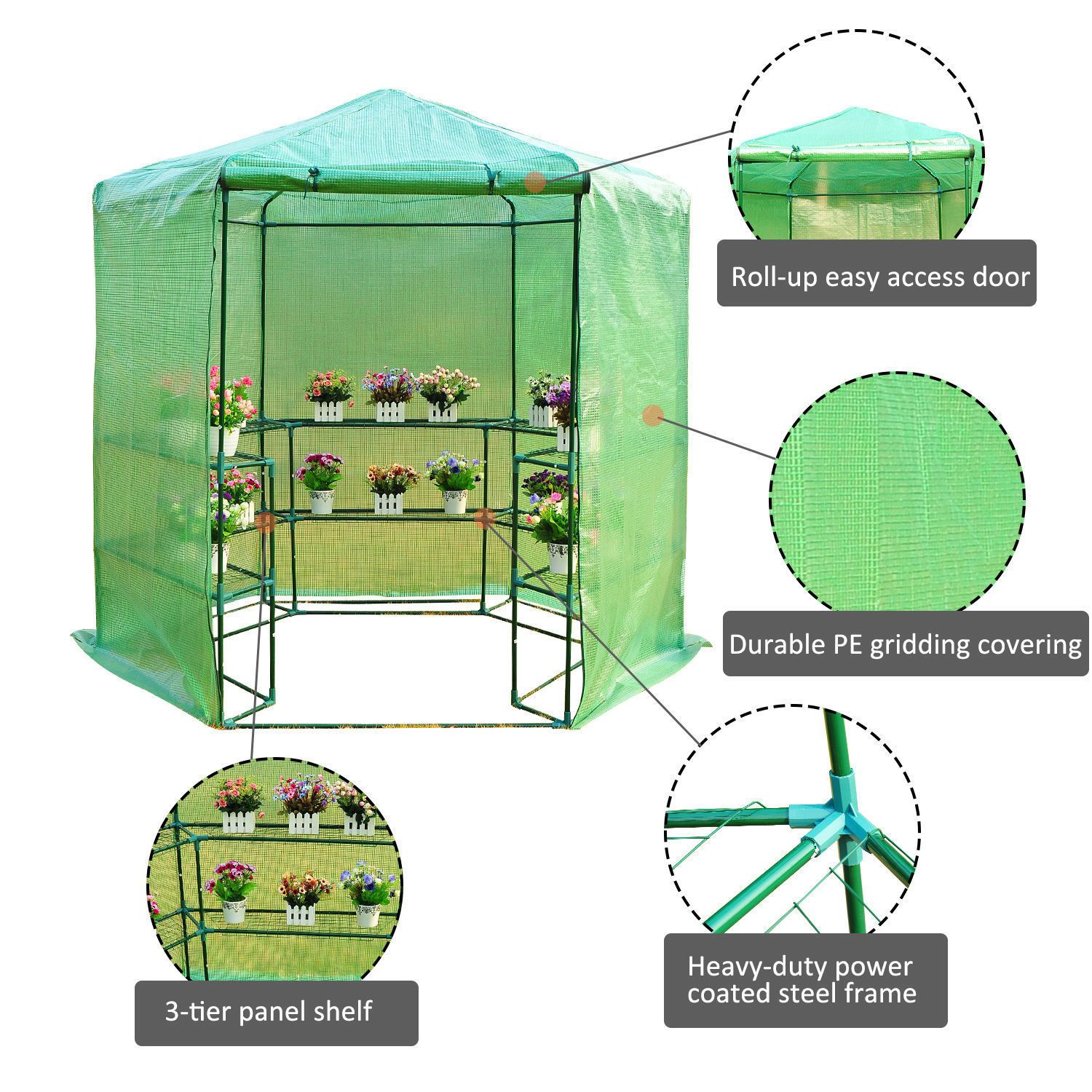 Outsunny Portable 3tier Shelf Hexagonal Walk In Greenhouse 7 5feet Ebay Walk In Greenhouse Planting Flowers Greenhouse Film