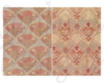 Art Nouveau digital collage sheet, 2 postcards, ANPC8 -    Edit Listing  - Etsy