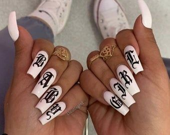 Old English Letter nail tattoos / Alphabet nail de