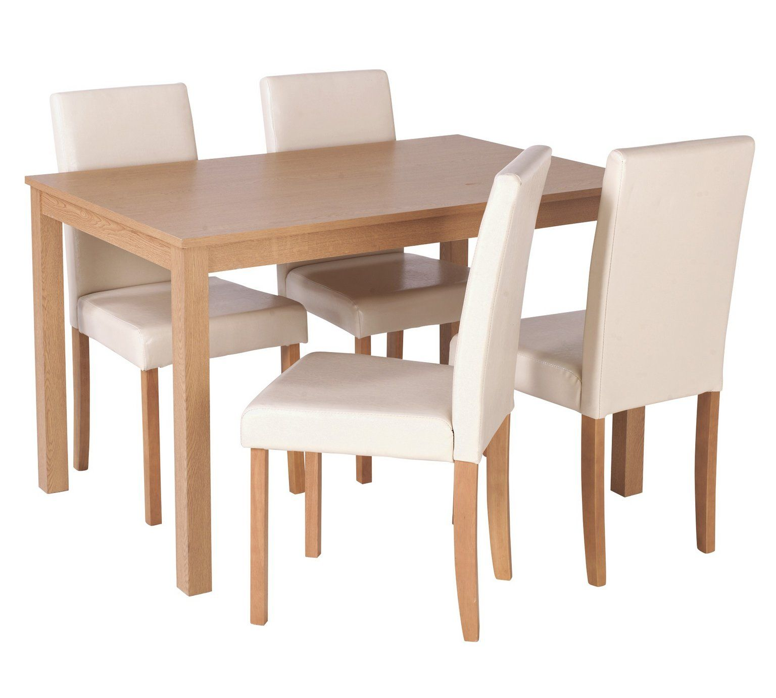 buy home elmdon oak effect dining table 4 chairs cream at argos