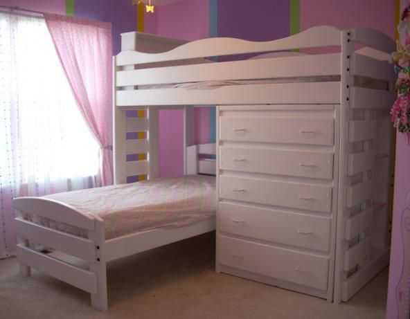 L018 Twin Twin L Shape Bunk Bed Princess Style Cassidy S Room