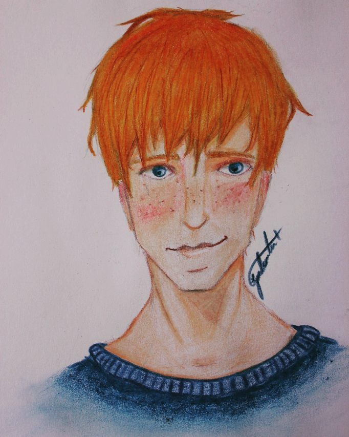 My OC  #draw #drawing #color #colors #paint #cute #sketch #guy #boy #orange #blue #orangehair #sexyguy #handsome #sketchbook #penelope #pencil #ilustration #oc