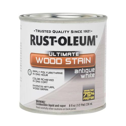 White Wash Wood Stain: Rustoleum® Ultimate Wood Stain, Antique White, 1/2 Pint
