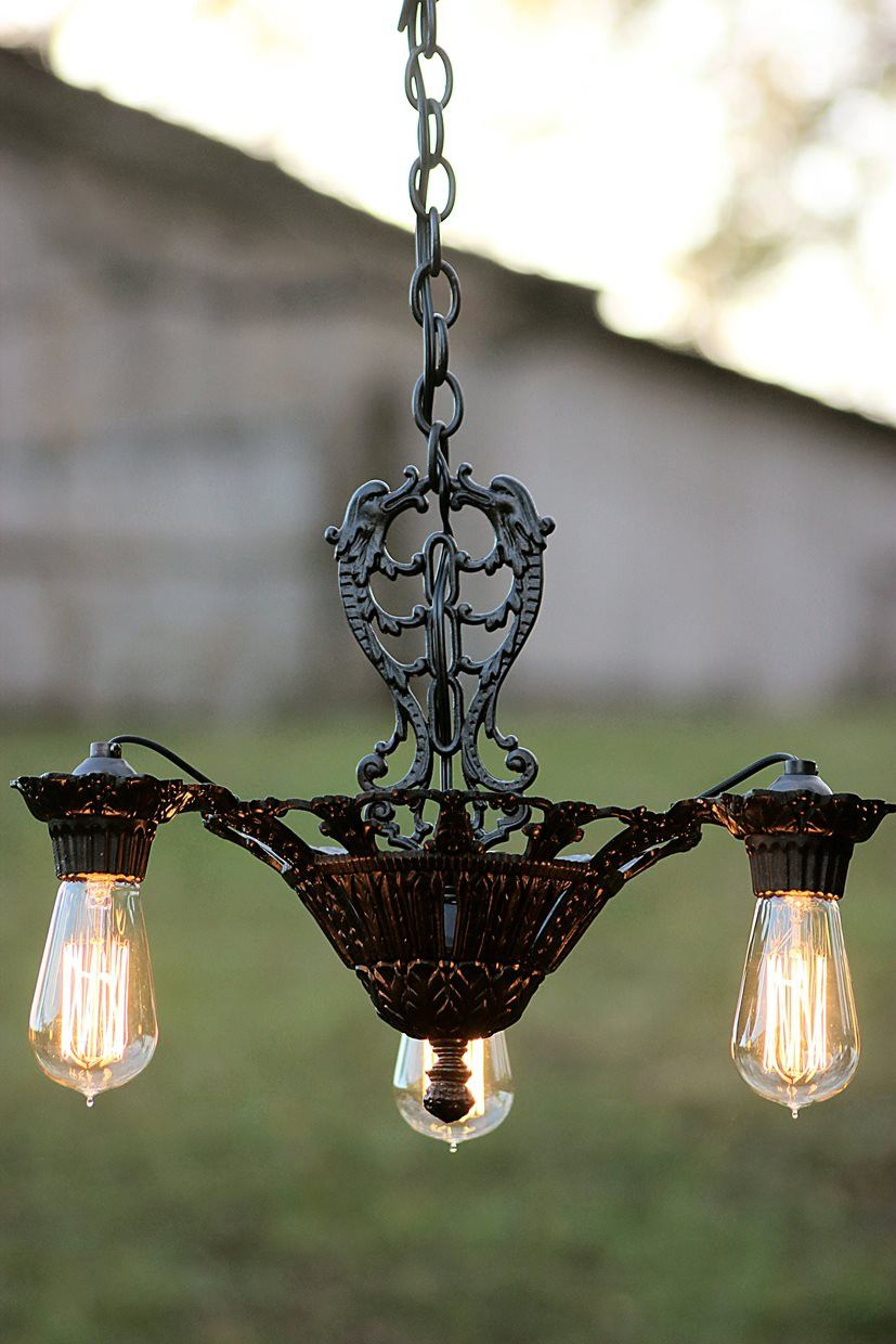 Early 1900s Antique Ceiling Fixture Restored With All New Wiring Light And Sockets