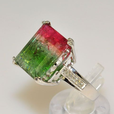 Amazing watermelon tourmaline engagement ring