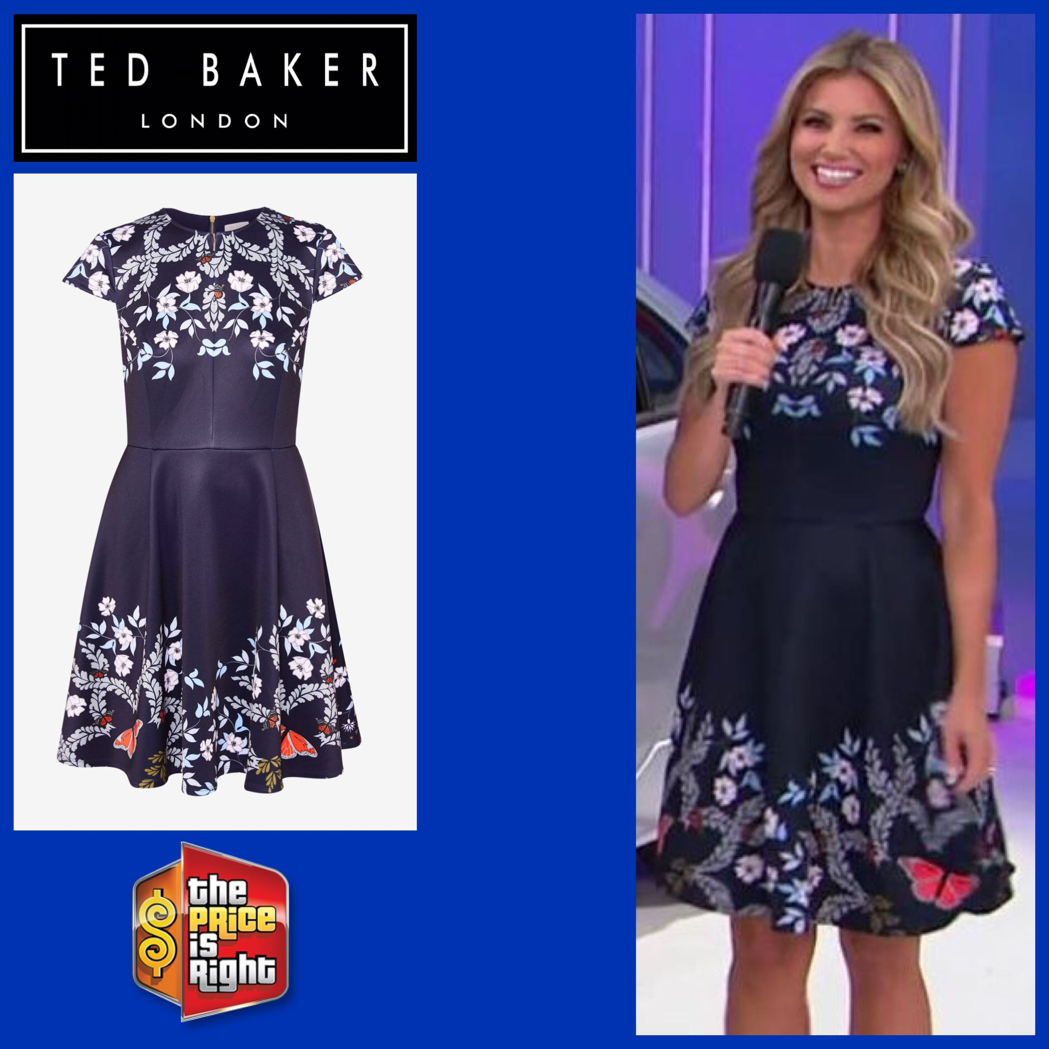 d8949d9ae TED BAKER LONDON Saydi Kyoto Gardens Skater Dress in Mid Blue worn by Amber  Lancaster