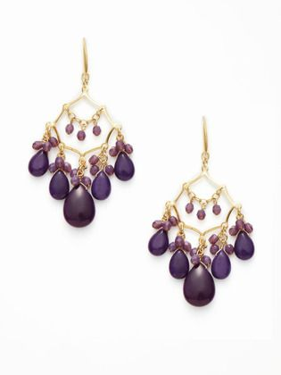 PURPLE CHANDELIER DANGLE EARRINGS