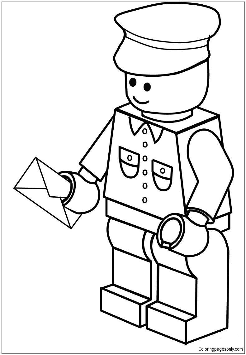 Lego Postman Coloring Page Free Coloring Pages Online In 2020