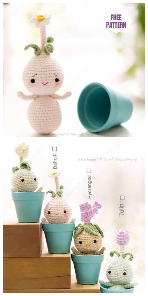 Häkeln Sie Blumenzwiebel Puppe Amigurumi kostenlose Muster #amigurumifreepattern