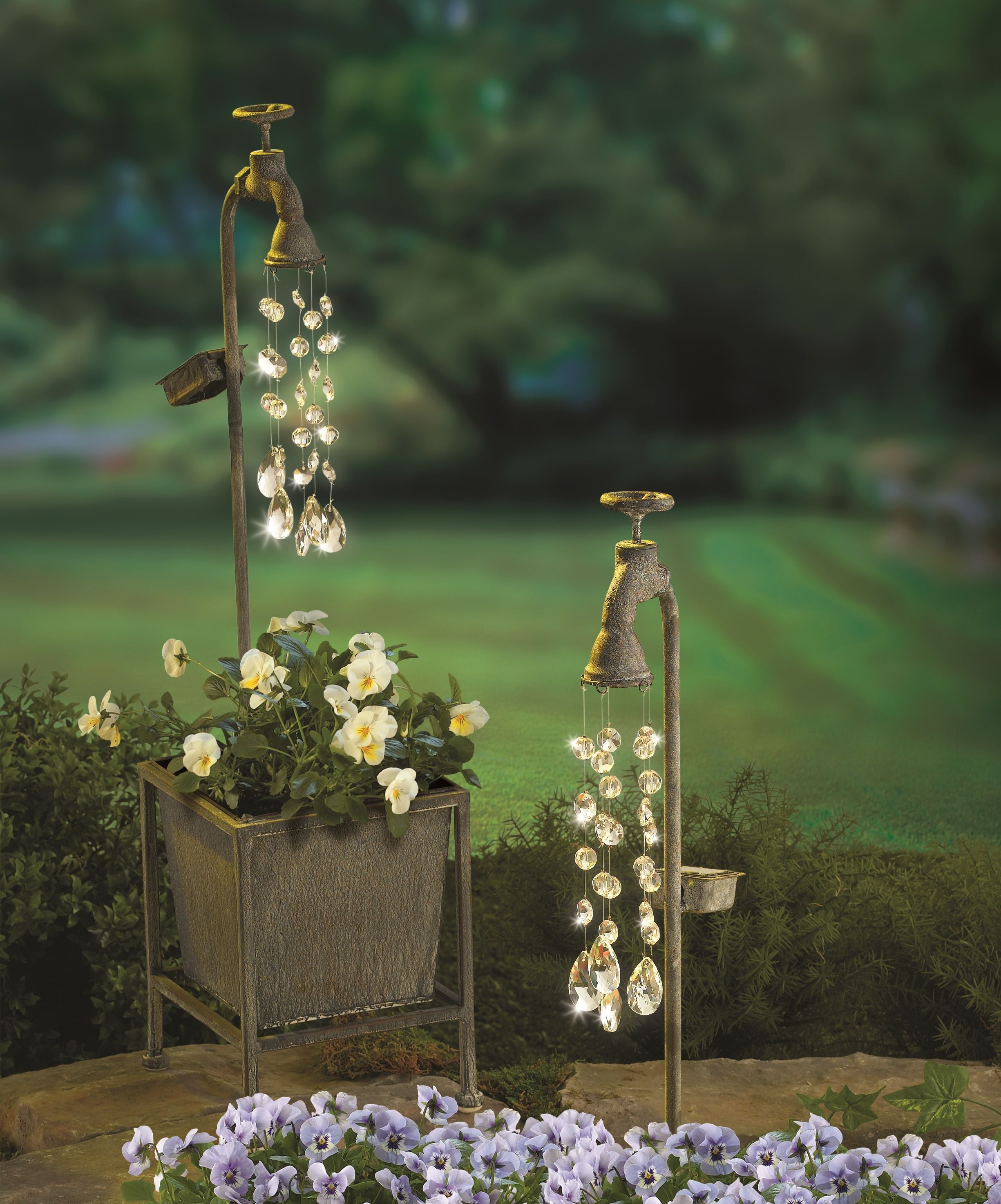 Love This Gr Solar Light Up Planter With Faucet That Holds A Bevy Of Acrylic Crystals That Sparkle As Light Shines Down On Them Solar Lights Garden Decor Decor