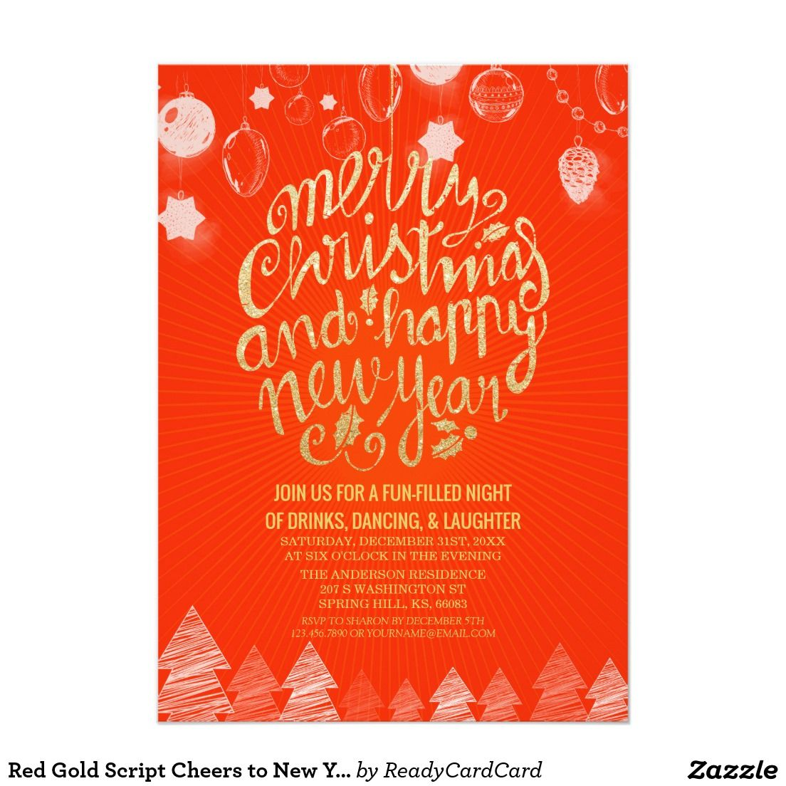 Red Gold Script Cheers to New Year Christmas Party Card | ❤❄Merry ...