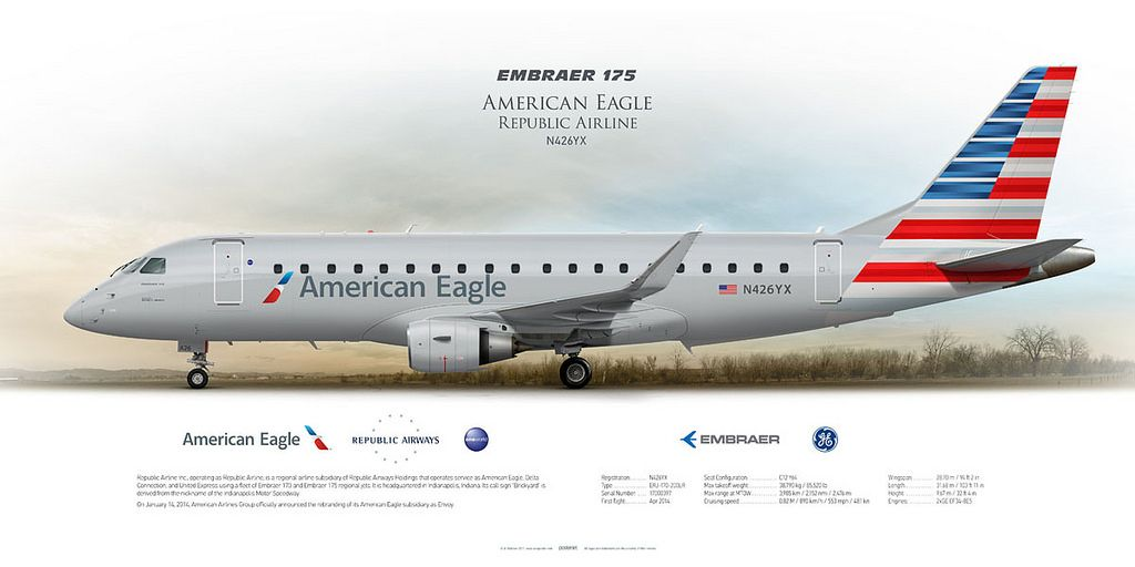 Embraer 175 American Eagle opb Republic Airline N426YX