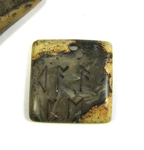 Fabulous Faux Collection - Ancient Runes Rustic Faux Bone Pendant