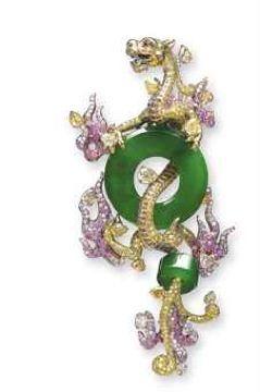 A Jadeite Dragon Brooch by WALLACE CHAN