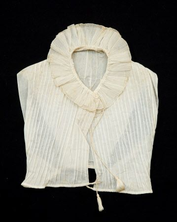 """Chemisette - Made from white cambric. Handstitched. Dated c.1800-1825. Snowshill Wade Costume Collection, National Trust Inventory # . Also on pages 50 and 51, object B, of Janet Arnold's 'Patterns of Fashion 1."""""""