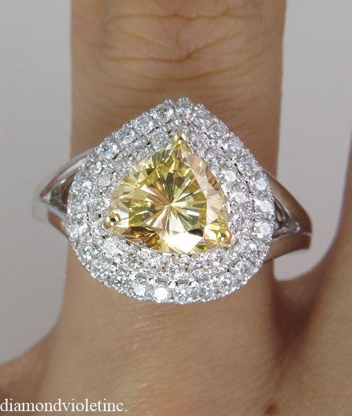 Reserved......GIA 2.63ct Estate Vintage Fancy Br. Yellow Light Cognac Diamond Engagement Wedding Ring 14k White Gold