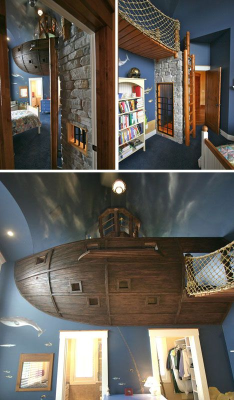 Bed Overboard Kids Bedroom Features Floating Pirate Ship Designs Ideas On Awesome Bedrooms Dream House Ideas Bedrooms Pirate Bedroom Decor