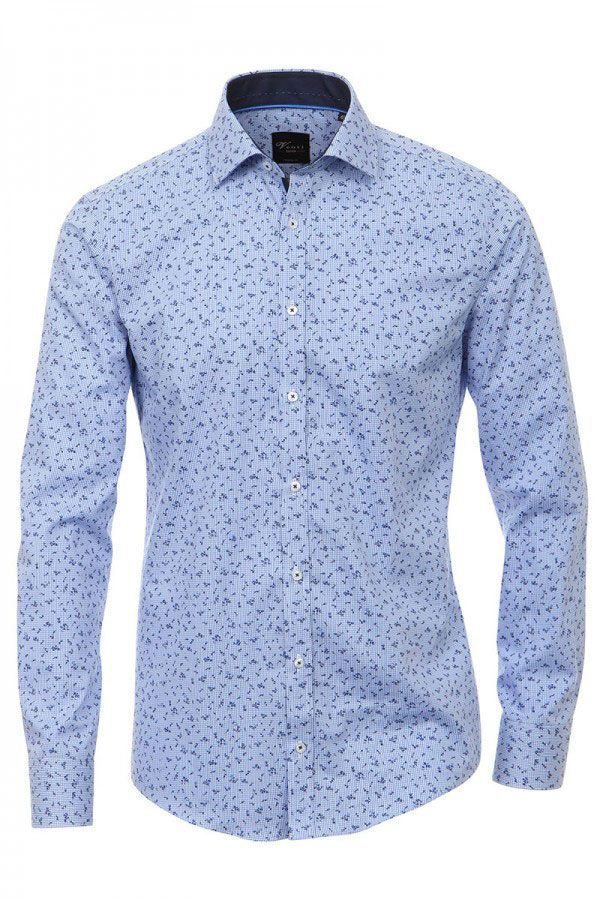 Print Muster Venti Hemd Blau Weiss Hemd Herren Mode Mode