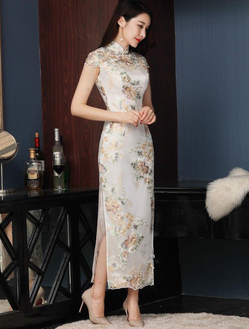 Embroidered Long Qipao Cheongsam Evening Dress Asian Style Dress Chinese Style Dress Chinese Dress Modern [ 1057 x 800 Pixel ]