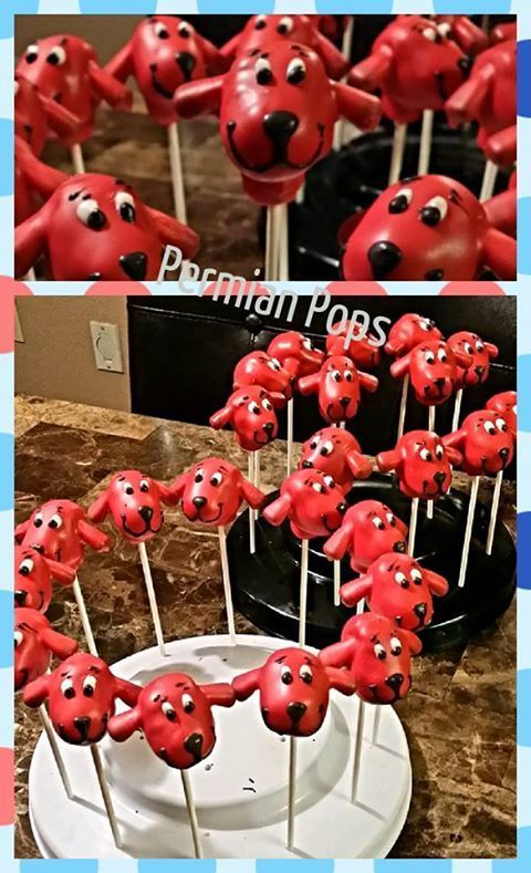 Clifford the Big Red Dog cake pops