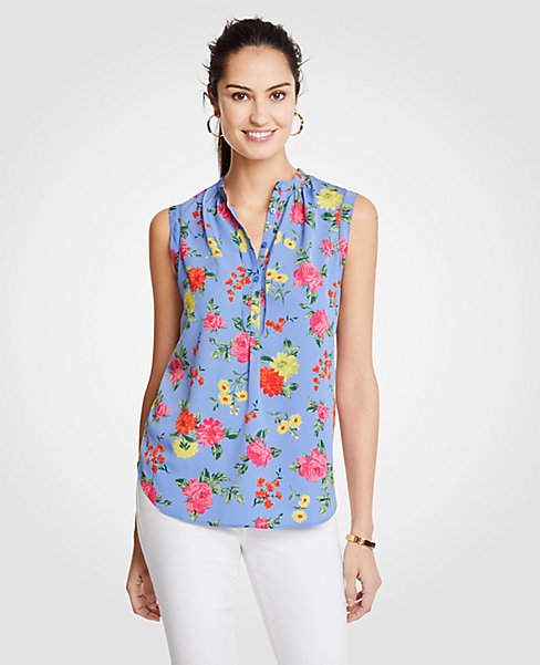 74284a20bc44b2 Ann Taylor Island Floral Shirred Popover Shell