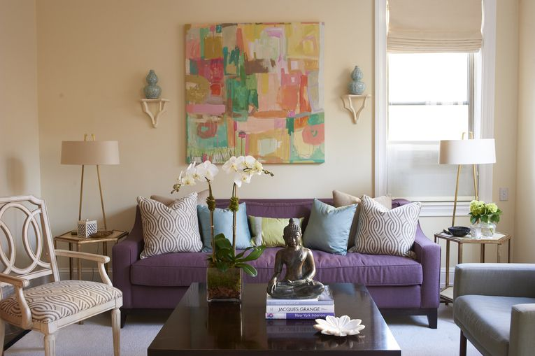 Blush Wall Color With Purple Sofa Love The Table Lamps Purple Living Room Living Room Design Inspiration Couch Decor #purple #couches #living #room