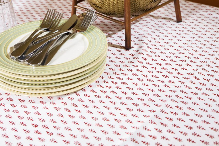 Indian Table Cloth   Red And White Tablecloths   Hand Block Printed From  Attiser