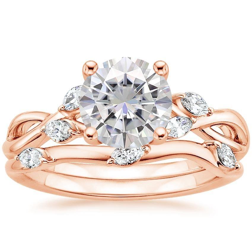 14k Rose Gold Moissanite Willow Diamond Ring 1 8 Ct Tw