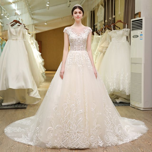 French Lace Backless Wedding Dresses