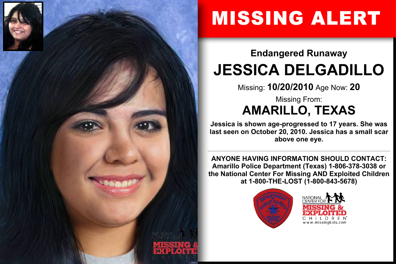 Jessica Delgadillo Age Now 20 Missing 10 20 2010 Missing From Amarillo Tx Anyone Having Information Sho Missing And Exploited Children Word Find Jessica