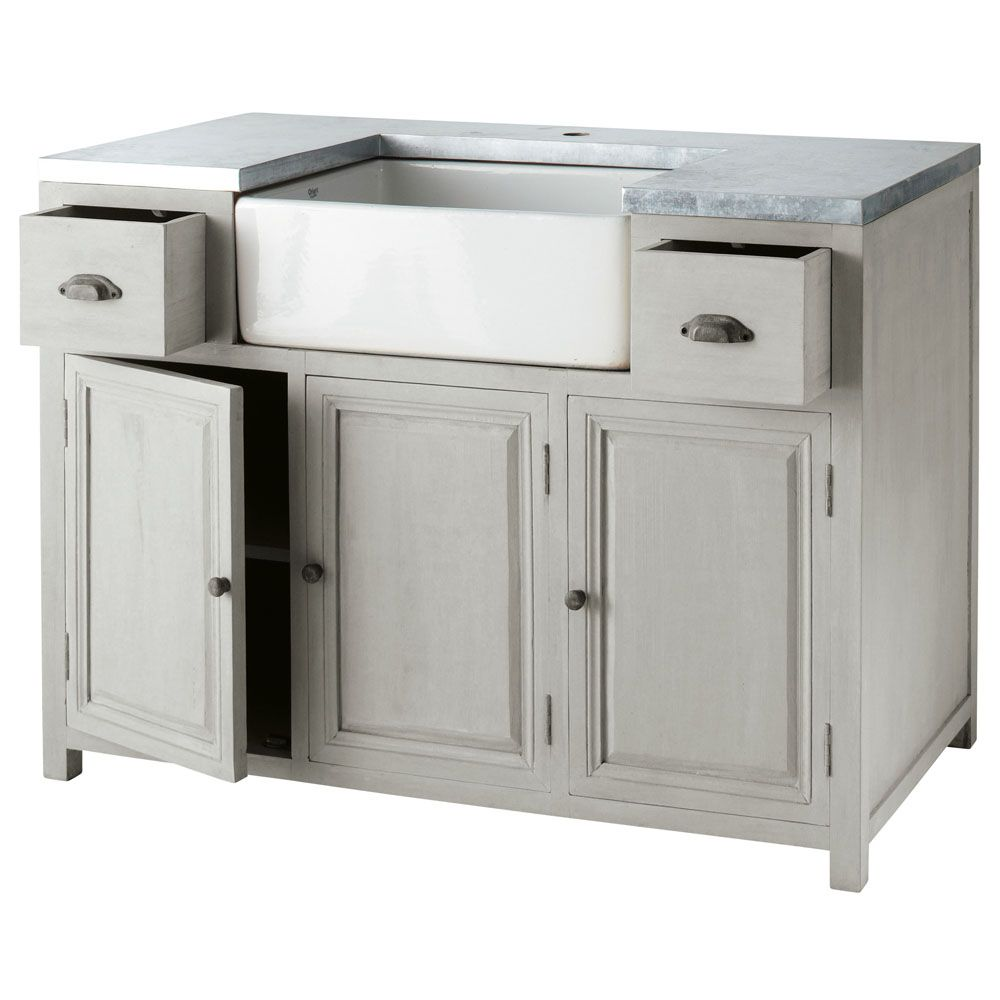 meuble bas de cuisine avec a c vier en bois d acacia gris l 120 cm