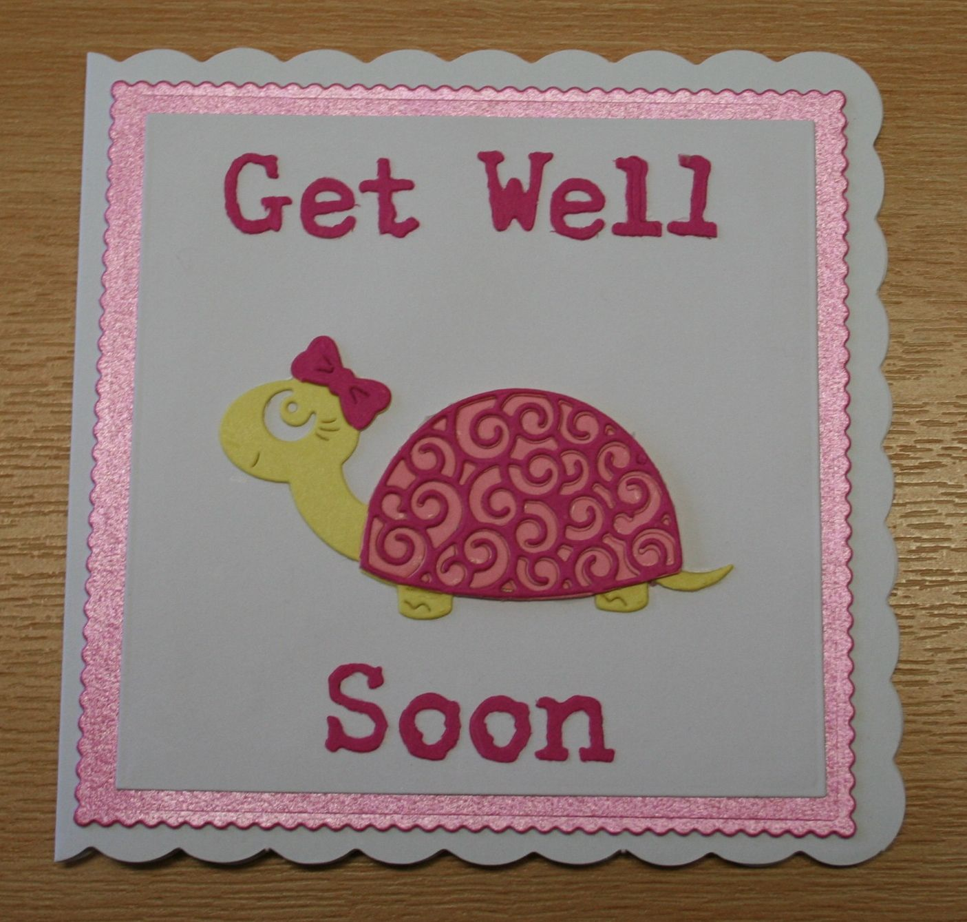 handmade get well soon card  tattered lace tortoise for