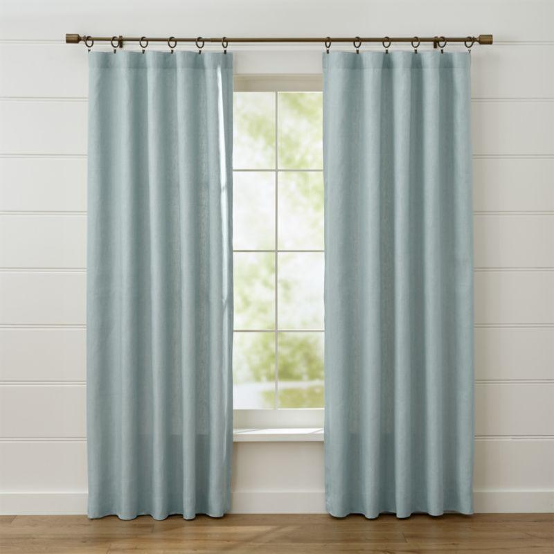 Shop Largo Aqua Linen Curtain Panels Made Of Heavier Weighted Linen These Soft Aqua Curtain Panels Sh With Images Grey Linen Curtains Linen Curtain Panels Grey Curtains