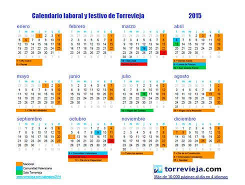 Torrevieja Com Información Calendario Laboral Y Festivo Torrevieja 2015 Periodic Table Diagram