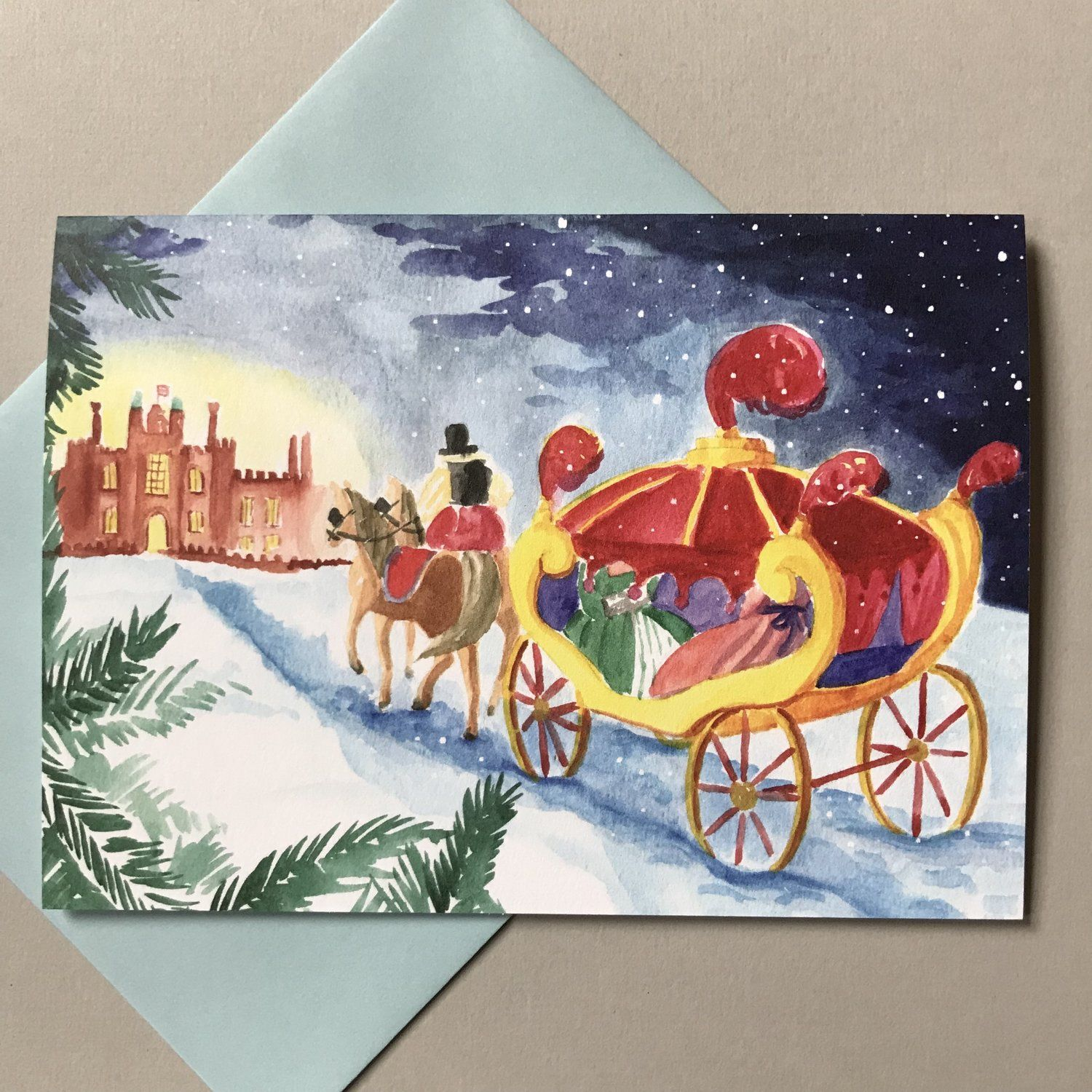 Photo of A Winter's Evening at Hampton Court Palace notecard — Colouring Tudor History
