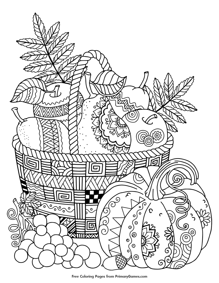Fall Coloring Pages eBook Zentangle Apples in Basket is part of Fall coloring pages, Coloring books, Thanksgiving coloring pages, Adult coloring pages, Printable coloring pages, Free coloring pages - Free printable online Fall Coloring Pages eBook for use in your classroom or home from PrimaryGames  Print and color this Zentangle Apples in Basket coloring page