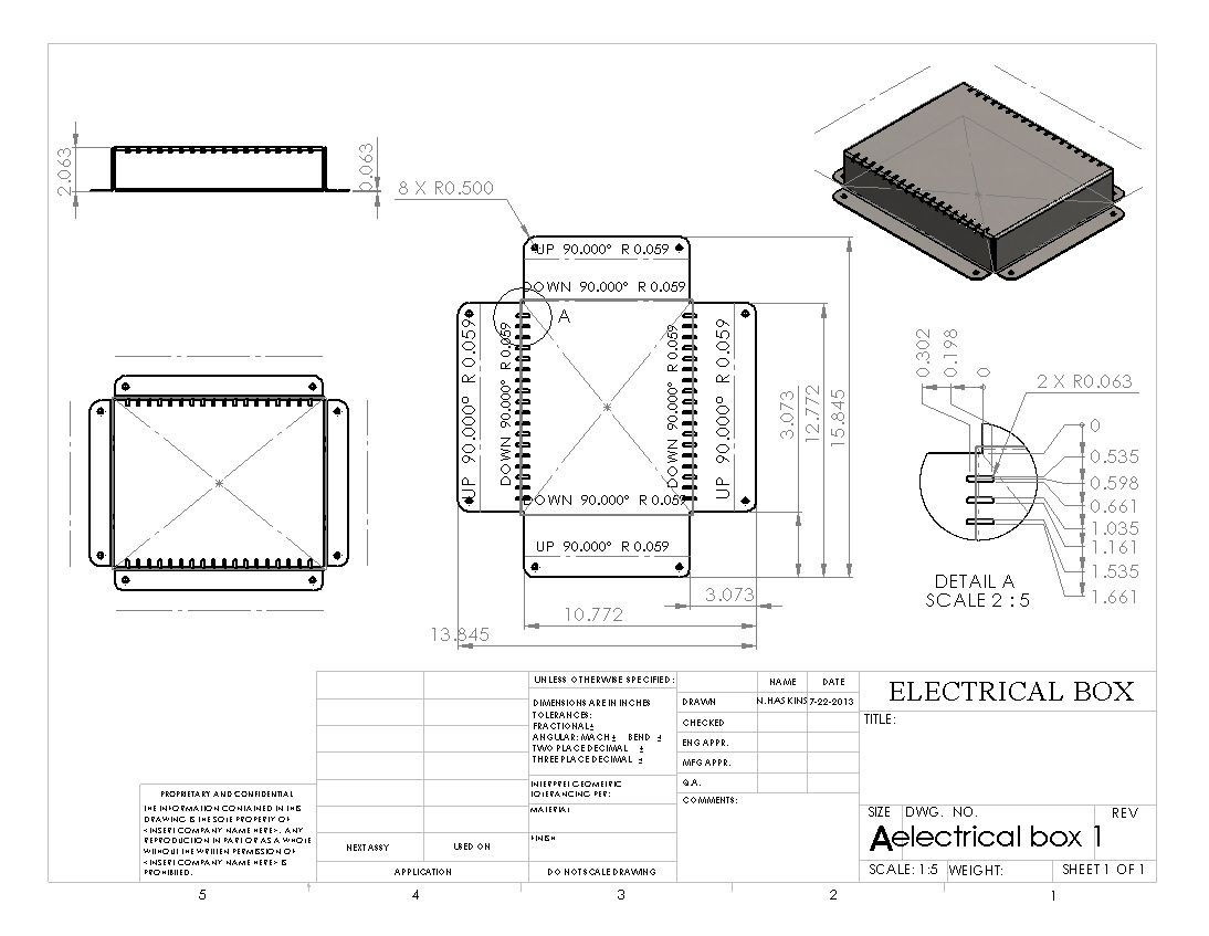 Electrical Box Flat Pattern Drawing Sheet Solidworks In