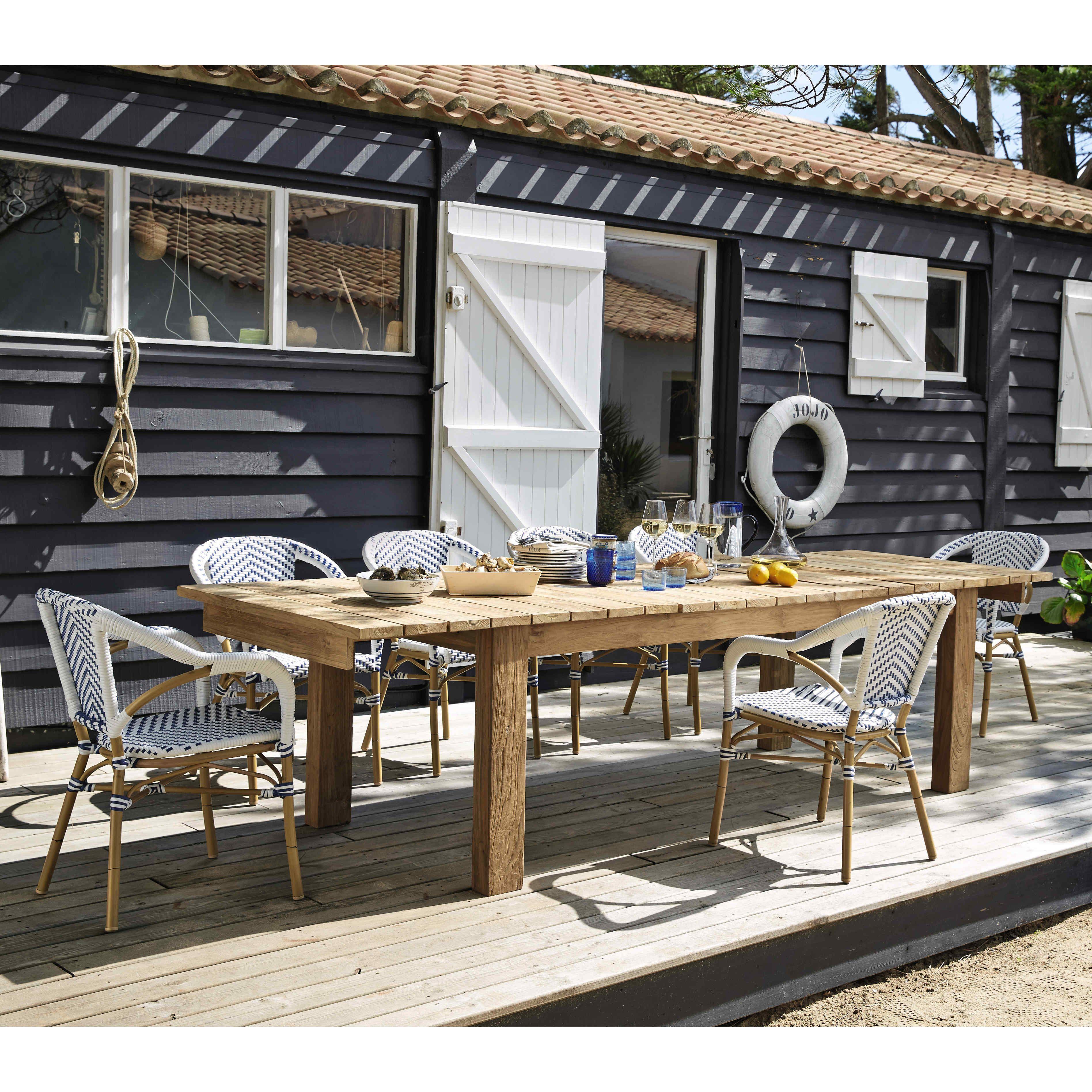 Fauteuil de jardin en résine tressée blanc/bleu Kafe | Maisons du ...