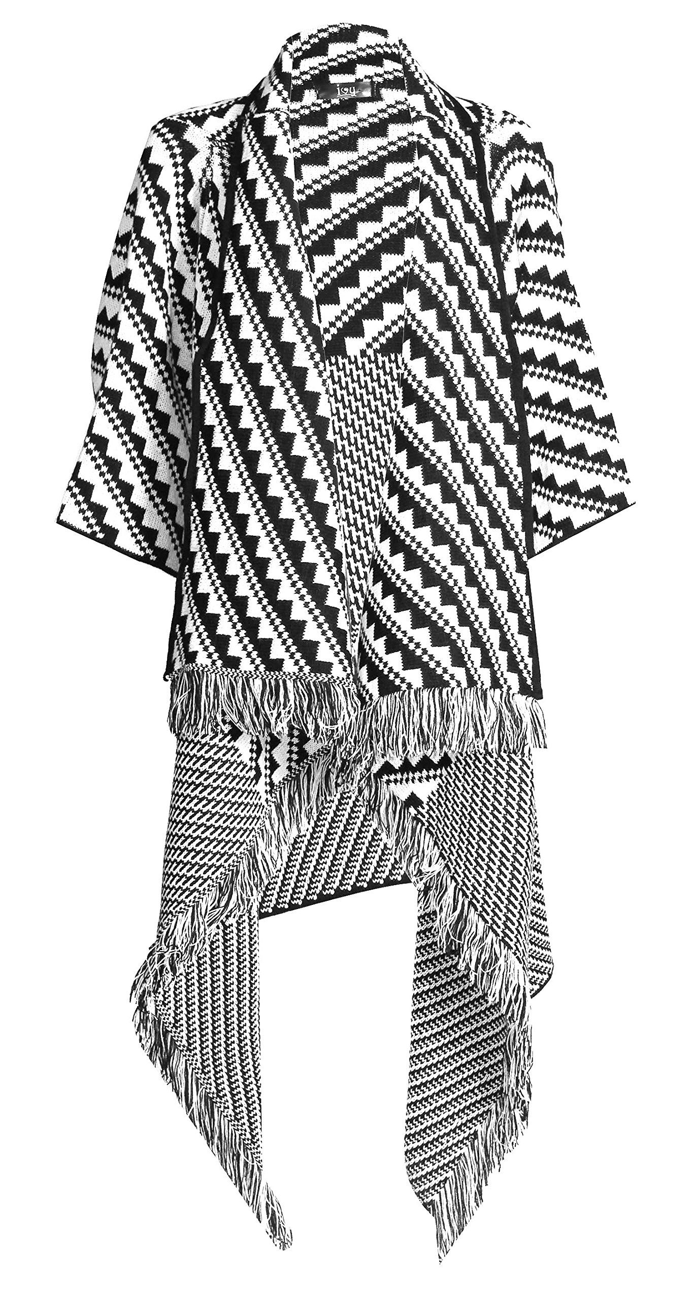 Forever Women's Aztec Diamond Print Knitted Waterfall Cardigan (One Size, Zigzag Black/White)