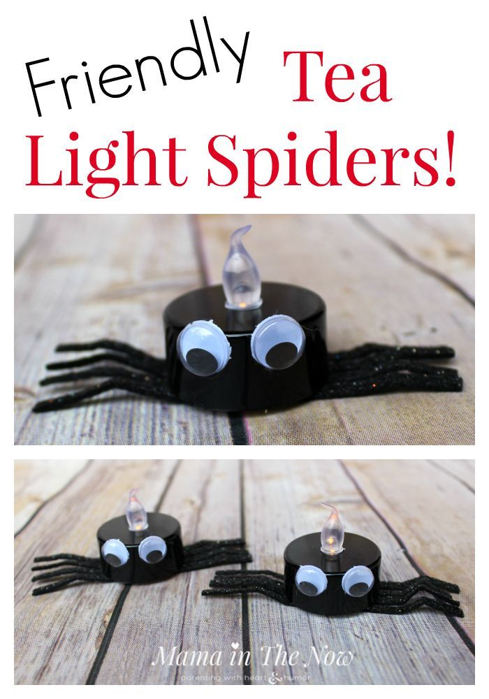 How to Make Friendly Halloween Spider Tea Lights Spooky decor - preschool halloween decorations