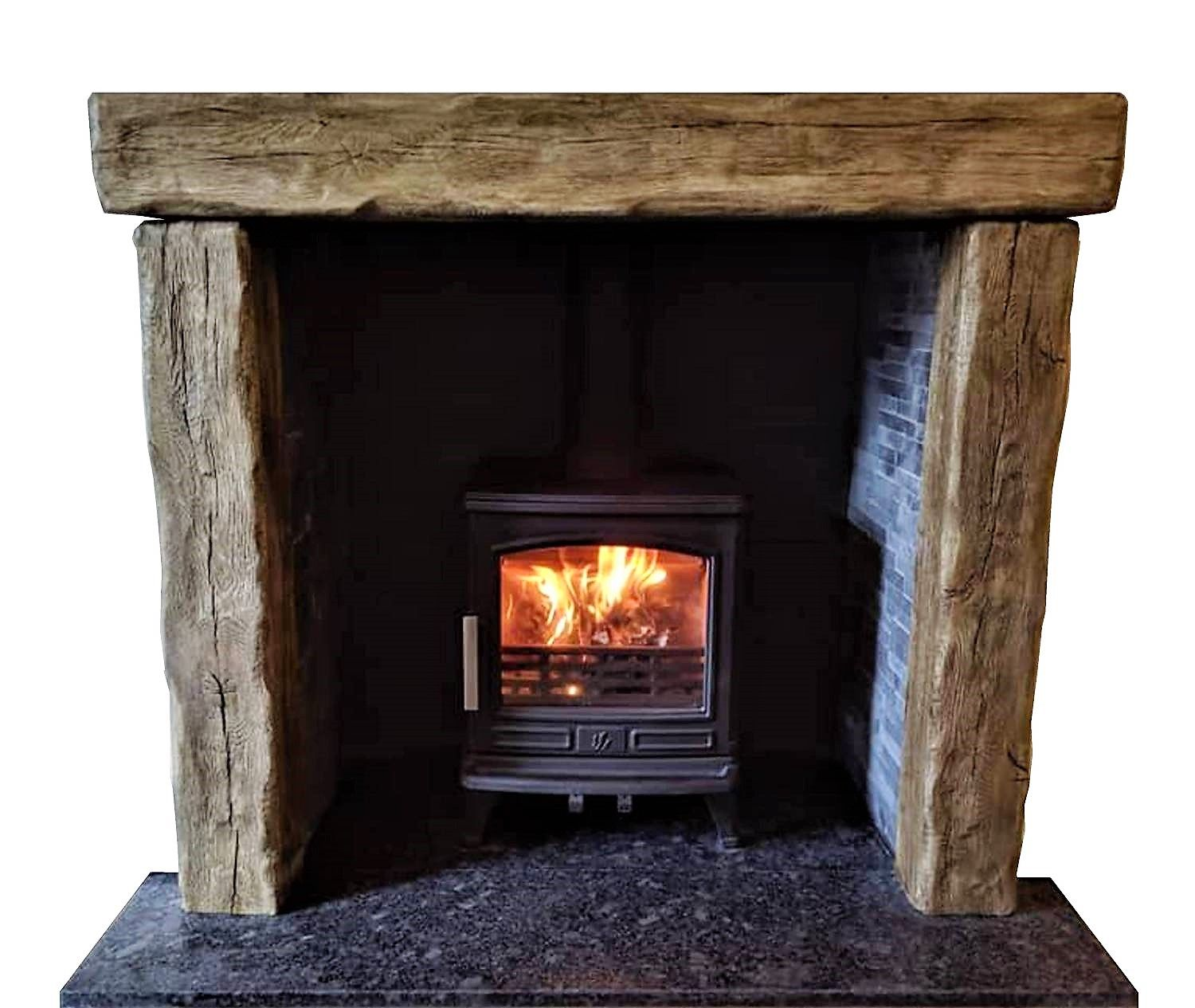 Stove Fireplace With Ceramic Painted Oak Effect Beams To Meet Distances To Combustible Material Regulations Ceram With Images Oak Beam Fireplace Stove