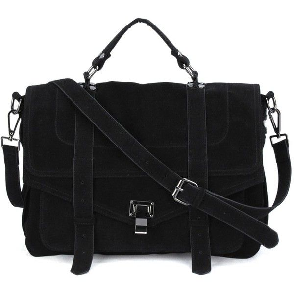 FC Vegan Bags New Vegan Faux Suede Messenger Bag (£72) ❤ liked on Polyvore featuring bags, messenger bags, magnetic bag, long strap messenger bag, faux leather bag and vegan messenger bag