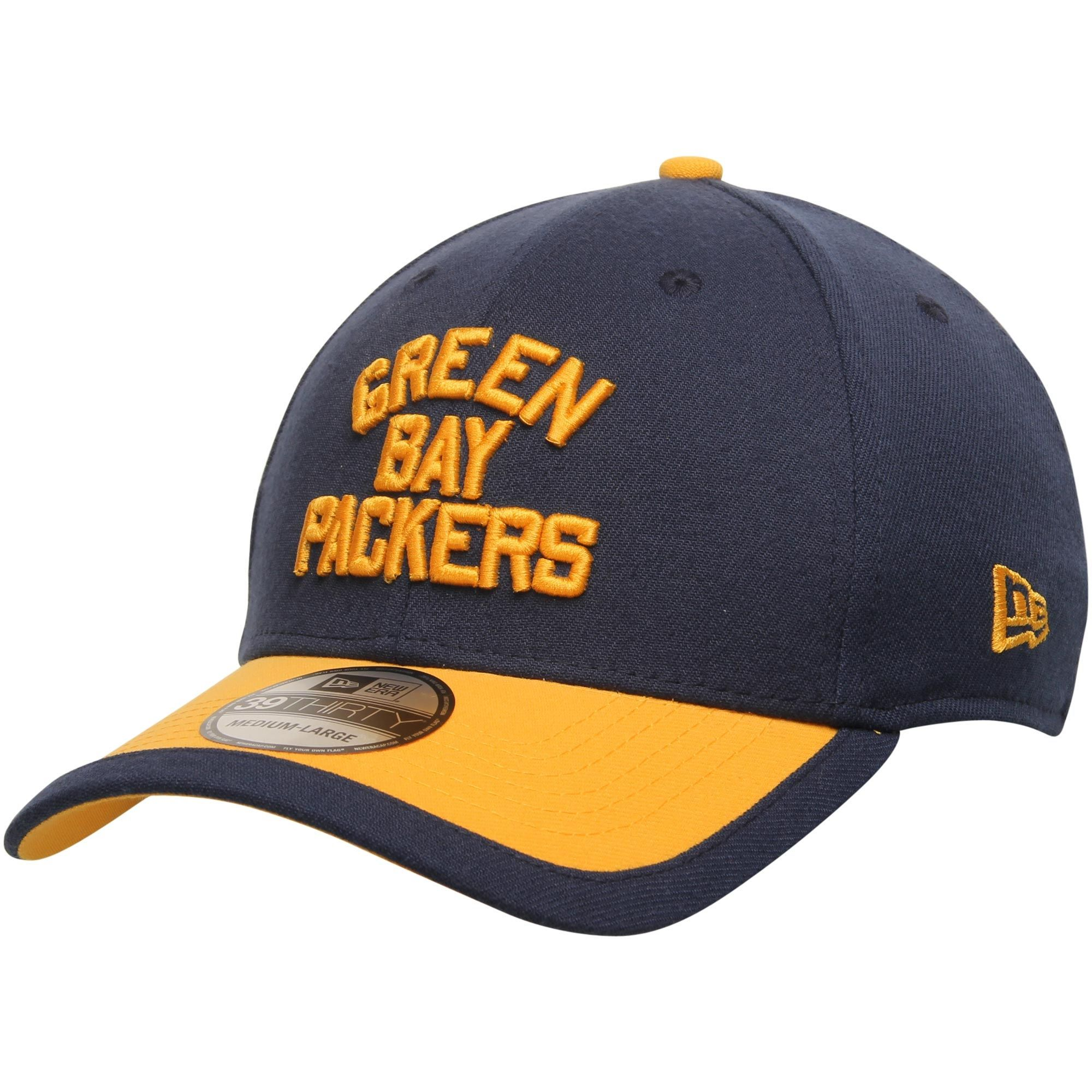 865996d58f2 Men s Green Bay Packers New Era Navy Gold Sideline Classic 39THIRTY Flex Hat