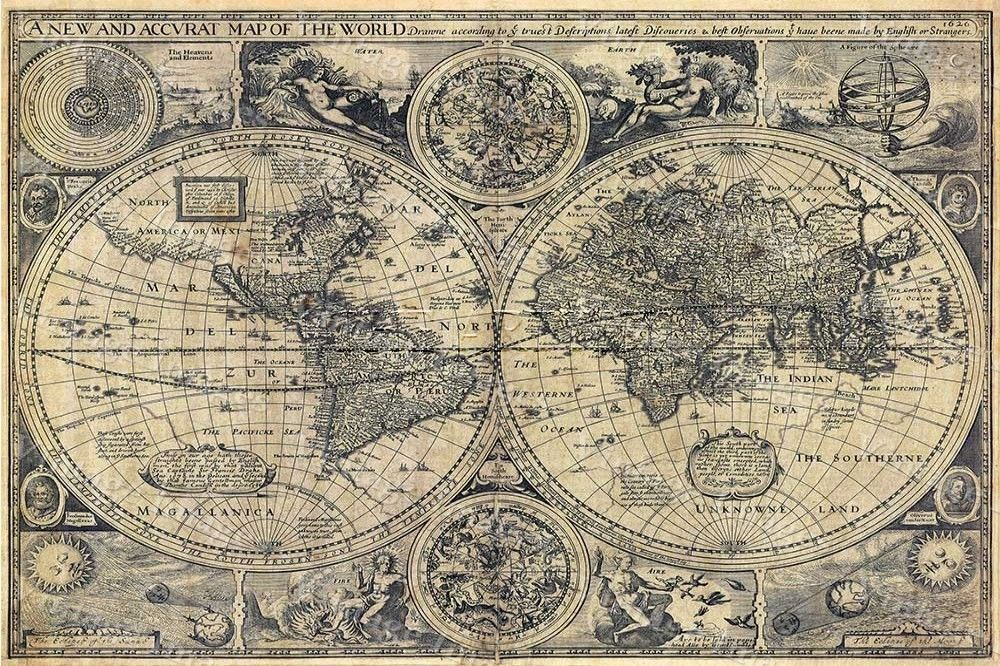 Large Historic 1626 Map Of The World Old Antique Style Wall Map Fine