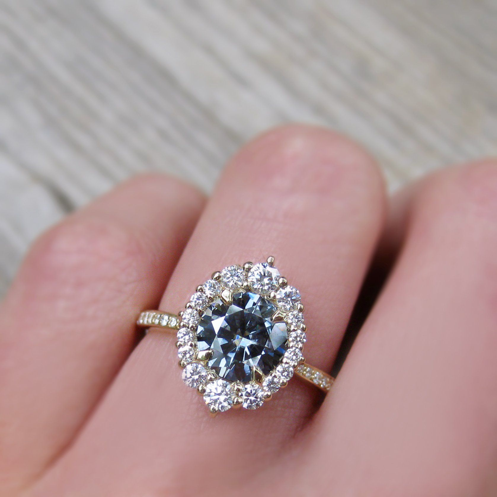 Low profile grey moissanite vintage halo ring in rose gold with an ...