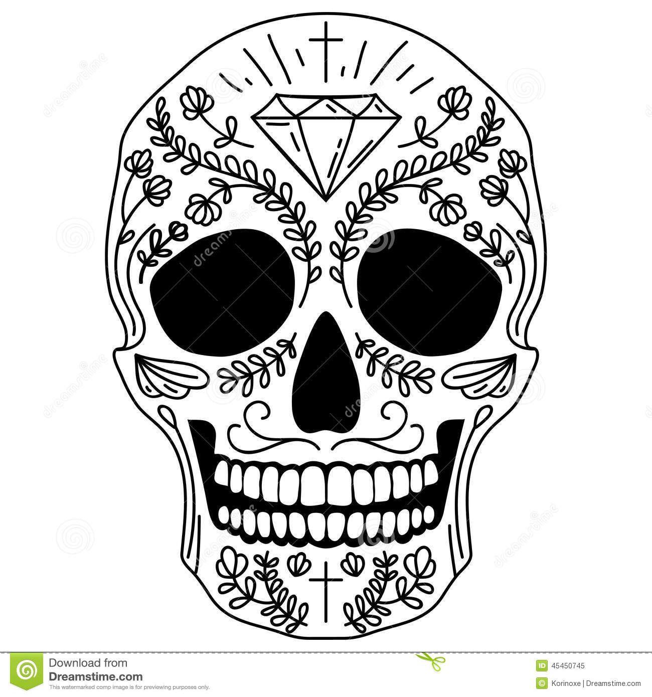 print very simple sugar skull skull coloring pages anatomy - Simple Sugar Skull Coloring Pages