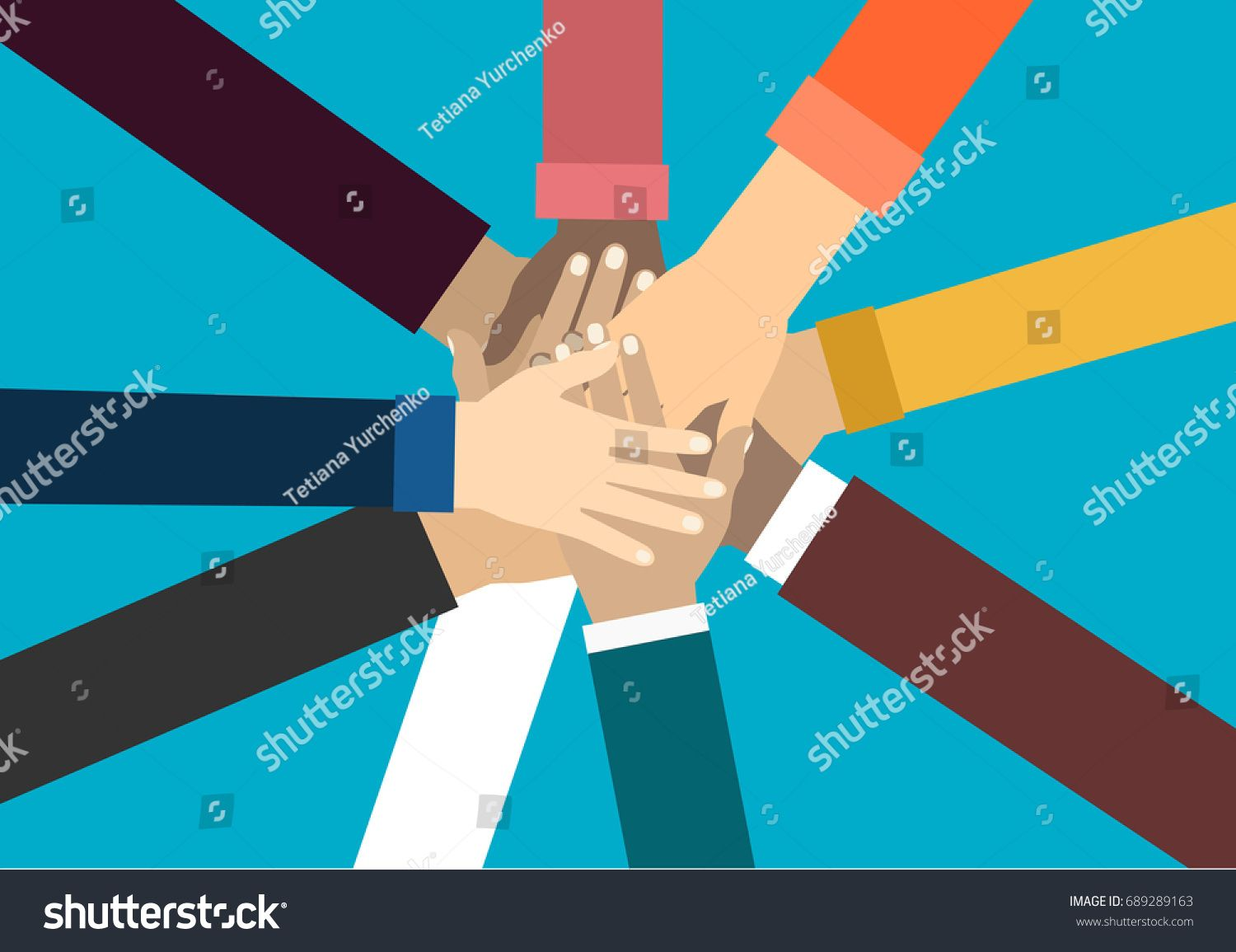 Young people putting their hands together  Friends with stack of
