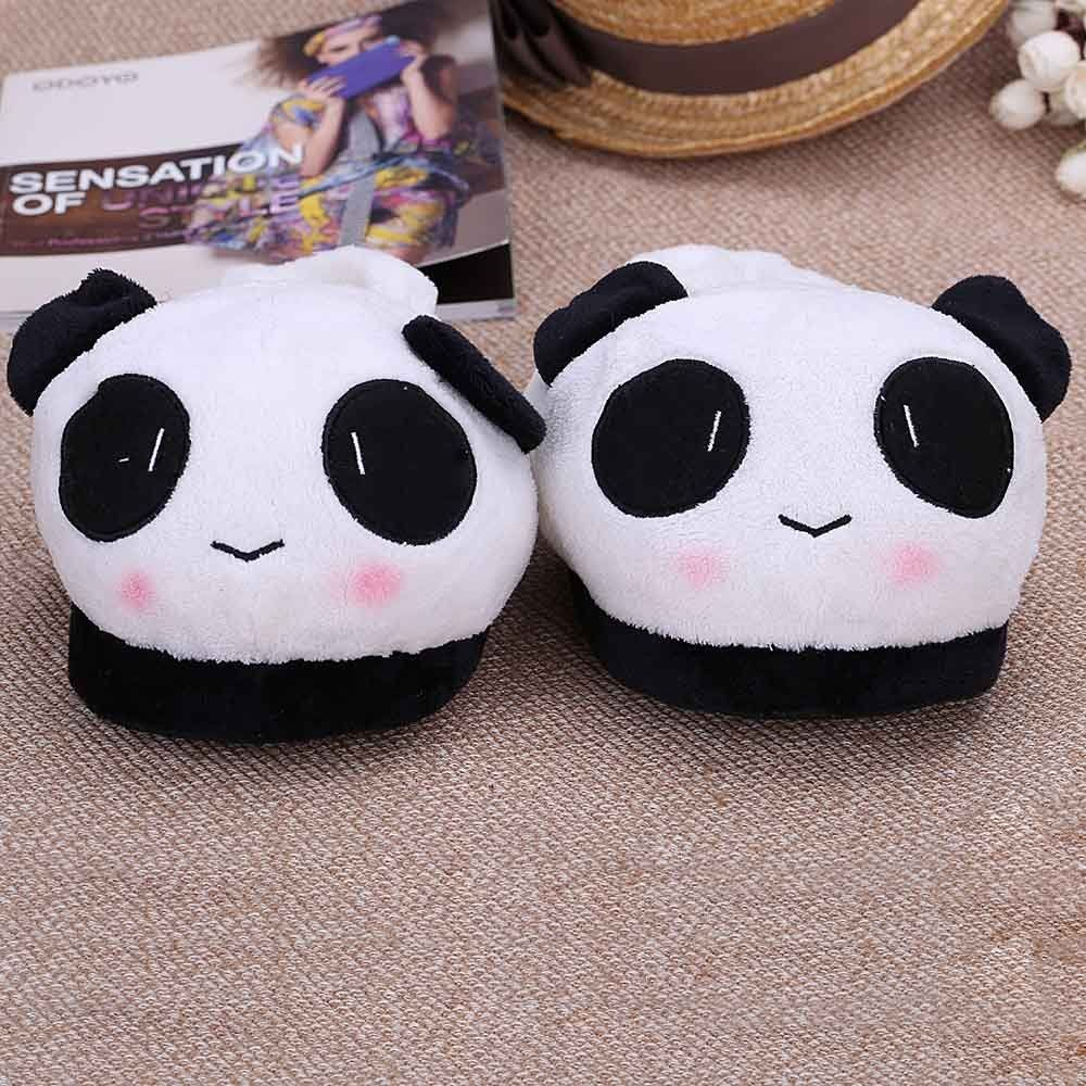 10. Shoes Slipper Indoor Novelty For Lovers Winter Warm Slippers Lovely Cartoon Panda Face Soft Plush Household Thermal Shoes 26cm